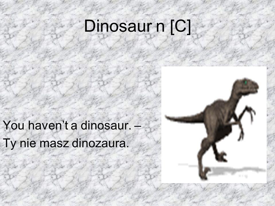 Dinosaur n [C] You haven't a dinosaur. – Ty nie masz dinozaura.
